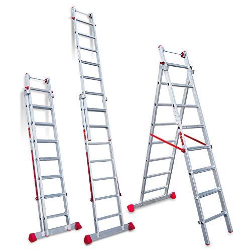 Faraone - Escalera Multiuso EN 1408 - Escalera 2 Tramos - Escalera 7+8 peldaños - 252x56x19cm - Peldaños Cómodos - Escalera de Aluminio - Ligera y Fácil de Manejar - Peldaños antideslizantes