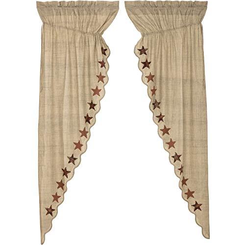 VHC Brands Abilene Star Prairie Long Panel Set of 2 84x36x18 Country Curtains, Tan