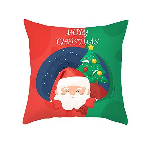 JHJFD Cojines Funda Navidad Roja Cojines De Almohada 45X45Cm Cojín Cuadrado De con Cremallera Invisible Hogar Sofá Cama (Sin Núcleo De Almohada)
