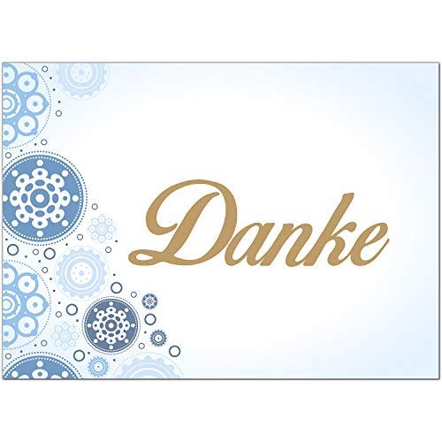 15 x Dankeskarten mit Umschlag - Motiv blau - Danksagungskarten, Danke sagen, nach Hochzeit, Geburt, Baby, Taufe, Geburtstag, Kommunion, Konfirmation, Jugendweihe