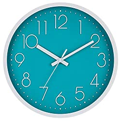 """JoFomp Silent Wall Clock, 12"""" Non-Ticking Quartz Battery Operated Decorative Wall Clocks, Modern Style for Living Room Bathroom Kitchen School Office - Thicken ABS Frame HD Glass Cover (Cyan)"""