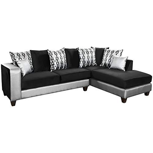 Flash Furniture Riverstone Implosion Black Velvet Sectional with Black & Shimmer Gold Frame