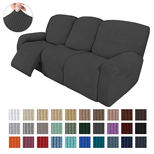 Easy-Going 8 Pieces Recliner Sofa Stretch Sofa Slipcover Sofa Cover Furniture Protector Couch Soft with Elastic Bottom Kids, Spandex Jacquard Fabric Small Checks Dark Gray