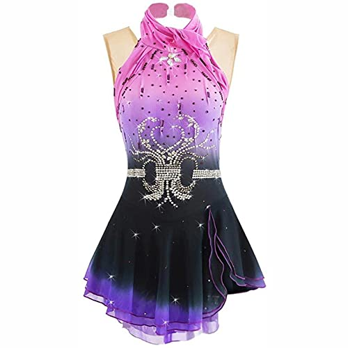 XRDSHY Vestido De Patinaje Artístico Clásico para Mujeres Mujeres Disfraz De Competencia De Patinaje sobre Hielo Rendimiento De Danza Sin Mangas Leotards,Pink-M