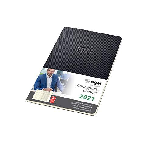 Sigel C2184 Monats-Kalenderheft 2021, ca. A5, Softcover, schwarz, Conceptum