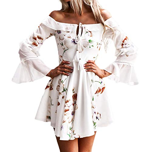 Goosuny Damen Abendkleid Kurz Spitze Sommerkleider Flare Sleeve Langarm Kleid V Ausschnitt Enge Minikleid Sexy Cocktailkleid Elegant Kleider Kurz...