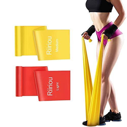 Elastici Fitness Bande, 2 m Fasce Elastiche Resistenza Fitness Bande Fisioterapia Fascia Elastica Esercizi Ideale per Yoga, Pilates, Allenamento di Forza e Flessibilità, Stretching (red_orange)