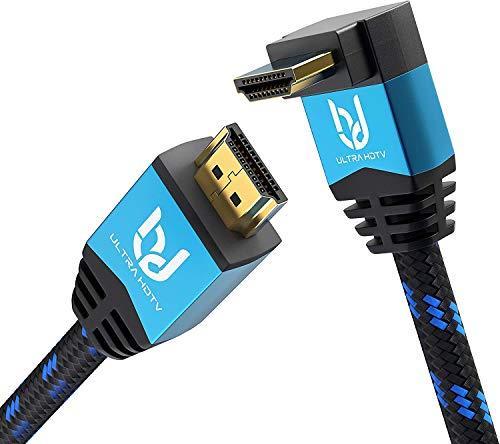 Ultra HDTV Premium 4K Highspeed HDMI 2.0b Kabel 2 Meter mit 90 Grad Winkelstecker, 4K@60Hz (ruckelfrei), Knickschutz Nylon-Mantel, HDMI Kabel mit 1 x 90° Winkel Stecker und 1 x geradem Stecker