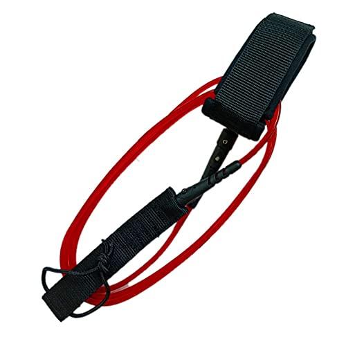 Correa para Tabla de Surf Poliuretano TPU Nylon Acero Inoxidable 6 pies 5,5 mm Correa Recta giratoria Doble para Deportes al Aire Libre Rojo