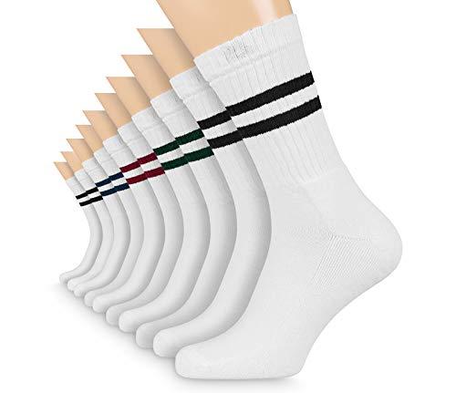 FLINK Herren Damen Crew Socks Socken mit Streifen Baumwolle Weiß 47-50 (5 Paar) | Beste Qualität und Lange Haltbarkeit