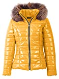 Georgia Quilted Faux Fur Hooded Long Sleeve Padded Jacket Mustard Yellow