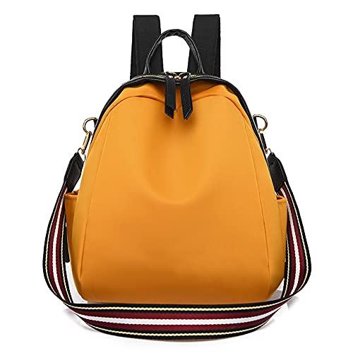 MIMITU Mochila de moda para mujer, color a juego, multifunción, para estudiantes, bolsos de hombro, la nueva bolsa de asas de viaje informal para mujer de tela Oxford, amarillo, 23x10x29cm