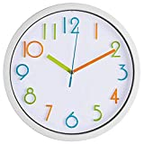 Bernhard Products Colorful Kids Wall Clock 10 Inch Silent...