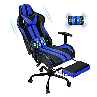 Massage Gaming Chair,PU Leather Video Computer Chair,Ergonomic Racing Style PC Game Computer Chair with Headrest Lumbar Support Footrest Adjustable Recliner