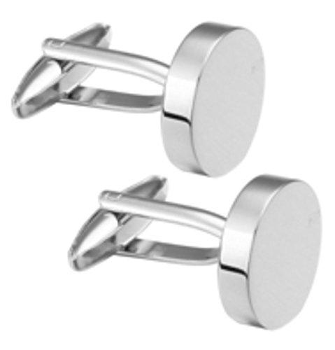 Cufflinks Direct Einfache runde polierte Silberne Manschettenknöpfe (Manschettenknöpfe mit Geschenktüte)