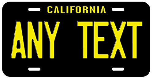 Top Craft Case Custom Personalized Vintage Yellow Black California State License Plate Any Text or Name Novelty Auto Car Tag