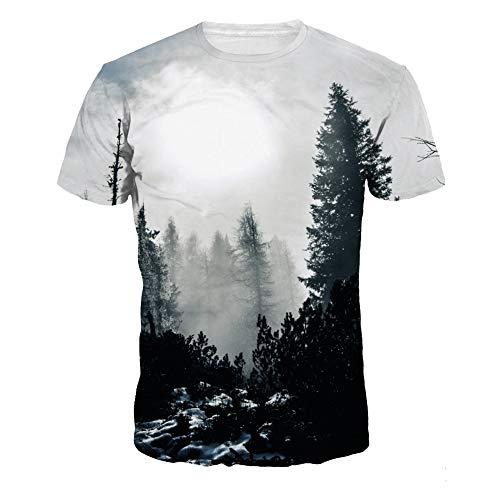 USEMPER Men 3D Print T-Shirt Machine Short Sleeve T Shirt Tees Funny Graphic T Shirts Forest-L(NA287)
