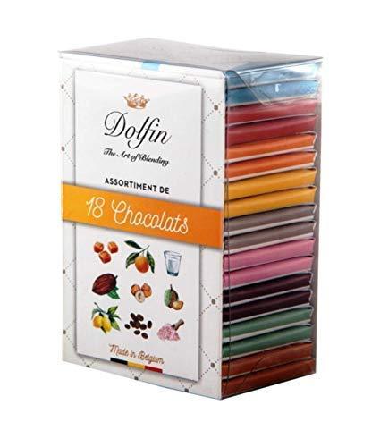 Dolfin Assortimento di 18 Mini Tavolette di Cioccolato Aromatizzate Made in Belgio - 1 x 180 Grammi