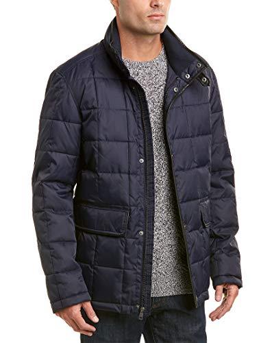 Cole Haan Signature Men's Box Quilt Jacket with Faux Leather Trim, Navy, Large