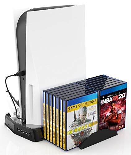 Soporte Multifunción fifilion PS5 DE/UHD All In 1 para PS5 Digital Edition/Ultra HD Muelle De Carga Escaparate De Refrigeración Enfriador Estación De Acoplamiento Cargador Base para Disco