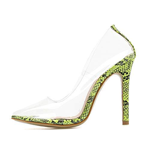 Tomwell Damen Pumps mit Hohen Spitze Stiletto-Absatz Transparente Perspex High Heels Rutsch Stiletto Party Hochzeit Schuhe B Grün 35 EU
