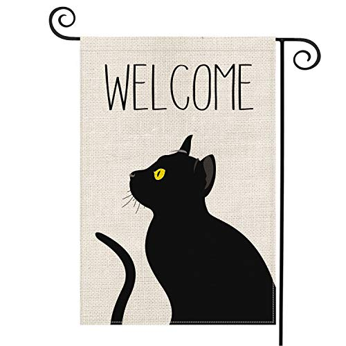 AVOIN Black Cat Welcome Garden Flag Vertical Double Sized, Pet Lovers Halloween Yard Outdoor Decoration 12.5 x 18 Inch