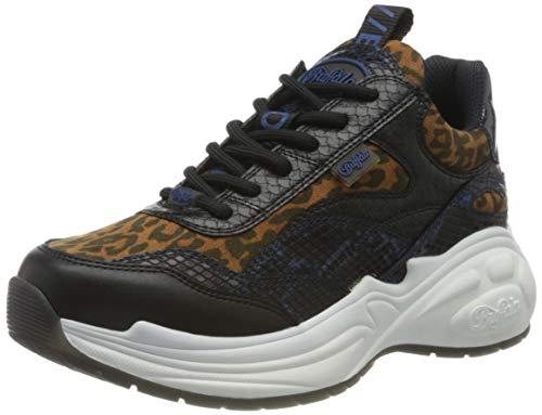 BUFFALO B.nce, Zapatillas Mujer, Black/Leopard, 37 EU