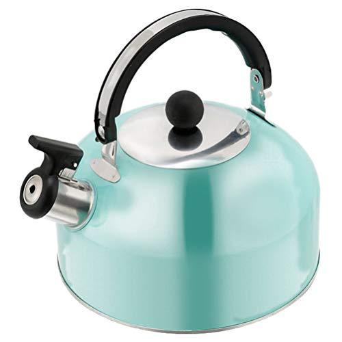 Cabilock Bollitore da tè 2L Bollitore a Fondo Piatto Bollitore da tè in Acciaio Inox Teiera con Fischietto per Tutti I Piani Cottura a Gas Elettrico