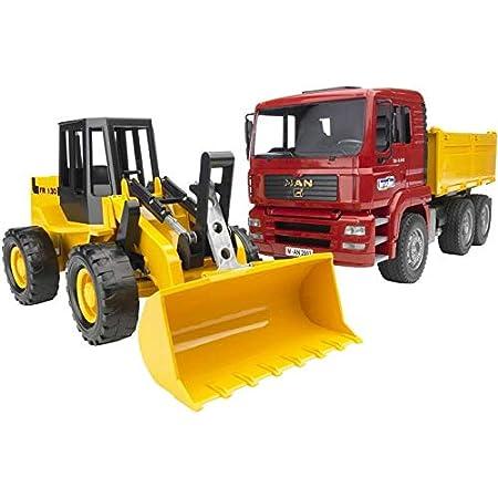 Bruder Spielwaren- Man TGA Kipplastwagen mit Gelenkradlader FR130 Bruder 02752-Camion Ruspa Pala Meccanica, Scala 1:16, Multicolore, B102752