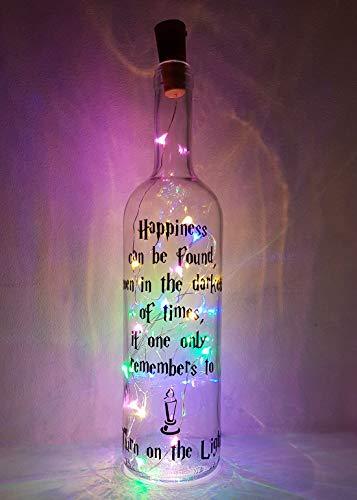 Mooseys Harry Potter Inspirado en la lámpara de Botella de Vino para Regalo de cumpleaños o San Valentín