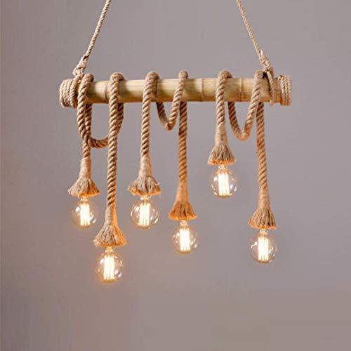 Vintage Retro Hennep Touw Hanglamp, E26 Industriële Hanglamp In hoogte verstelbaar, Bamboe Kroonluchter 4 6 Vlammen, Antiek Klassieke Rustieke Plafond Verlichting voor Woonkamer Eettafel Lamp (4)