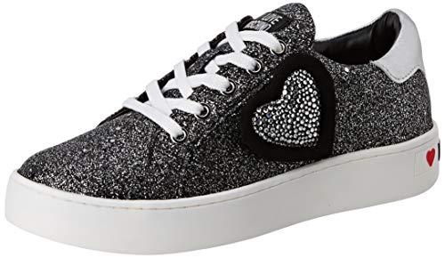 Love Moschino Scarpad.cassetta35 Glitter, Chaussures de Gymnastique Femme, Noir (Black Mesh 00a), 39 EU
