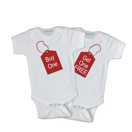 Twins Infant One Piece Bodysuit - Buy One Get One Free,white,0-6 Month