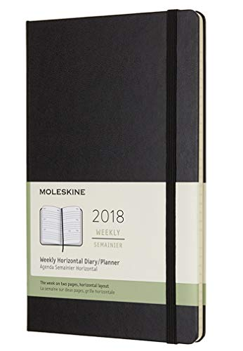 Moleskine Classic 12 Month 2018 Weekly Planner, Hard Cover, Large (5' x 8.25') Black