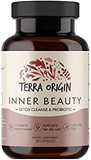 Terra Origin, Inner Beauty, Capsules, 30 Servings, Detox Cleanse, 5 Billon CFU - Promotes Hair Growth, Healthy Skin, Metab...