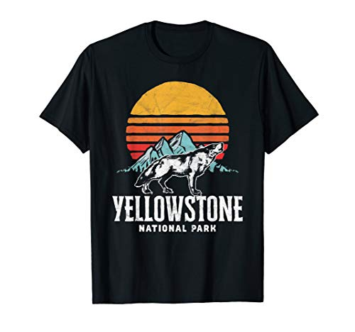 Vintage Yellowstone Howling Wolf, Mountains & Sun Graphic T-Shirt