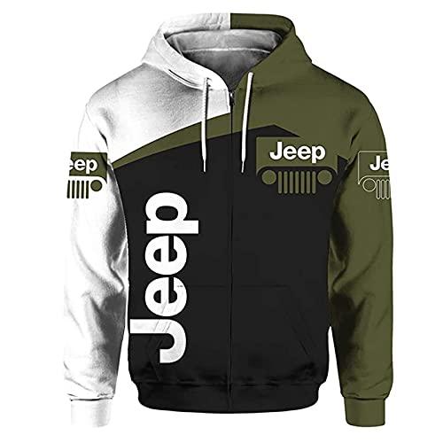 QIZIFAFA Pullover Hoodie 3D Digital Jeep Impreso con Cremallera Sudadera con Capucha Casual Sudadera con Capucha Sudaderas Bolsillos para Adolescentes Suéteres,X~Small