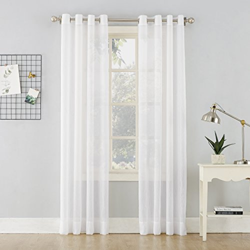 """No. 918 Erica Crushed Sheer Voile Grommet Curtain Panel, 51"""" x 63"""", White"""