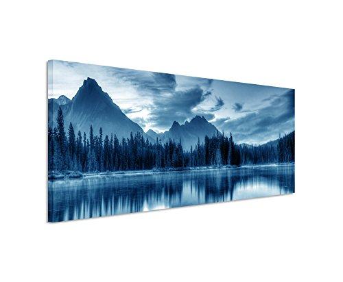 Sinus Art 150x50cm Wandbild – Farbe Blau Petrol Panoramabild Wandbild auf echter Leinwand in sehr hoher Qualität - Sonnenaufgang Spillway Lake Kanada