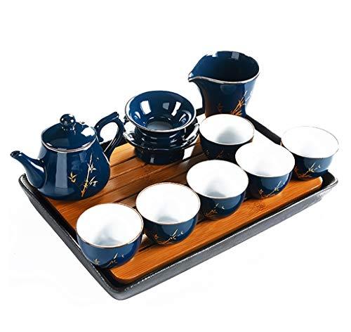 Service à thé en porcelaine de Chine dieu bleu glaçure Céramique à la main Maison de thé maison moderne kung fu Cérémonie du thé 10 pièces (Couleur : A)