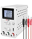 Nice-Power Bench Power Supply (0-120V, 0-3A) Adjustable DC Power Supply Kit 4-Digital LCD for Lab Power Supplies, Production Line Test&Maintenance, etc. with Banana Plug Test Leads/White