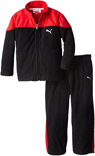 PUMA Little Boys' Curve Polar Fleece Set-Toddler, Black, 2T