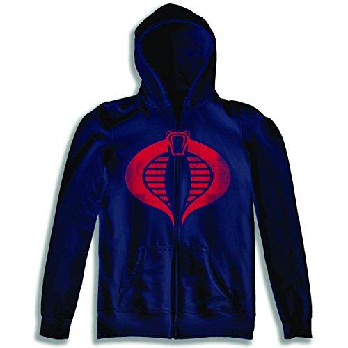 Toy Zany Gi Joe Cobra Logo Zip Up Hoodie Sweatshirt | S