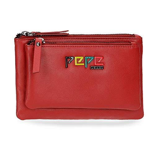 Pepe Jeans Mandala Monedero Neceser Rojo 17x10,5x2 cms Piel