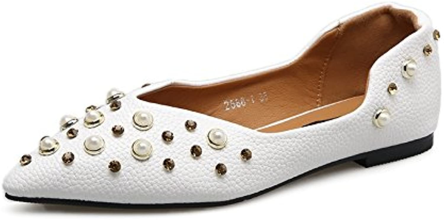 Closed-toe Women shoes 2017 Fashion Diamond Pearl Pointed-toe Flat shoes Court shoes