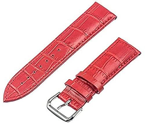 chenghuax Correa de cuero de 12 mm, 14 mm, 16 mm, 18 mm, 20 mm, 22 mm, 24 mm, correa de repuesto para reloj con barra de resorte (color: 20 mm, tamaño: rojo)