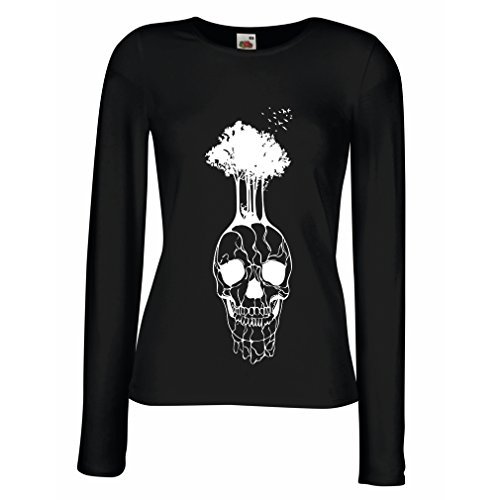 N4341M Mangas largas Camiseta de la Hembra El cráneo y el árbol (Medium Negro Multicolor)