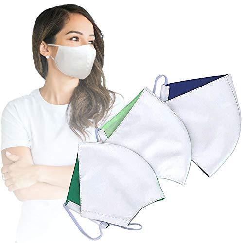 3er Set Gesichtsmaske waschbar | bis zu 76% dickeres Material | Mund Nase Maske waschbar bis 95°C | Mundbedeckung Behelfsmaske | Stoff-Maske für Damen und Herren | Community Maske Stoff mit Baumwolle