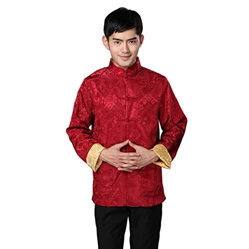 Meijunter Herren Chinesisch Kleidung Tang Anzug - Wing Chun Shaolin Tai Chi Traditionell Kostüm Kampfkunst Kung Fu Lange Ärmel Beidseitige Jacke Hemd Uniform