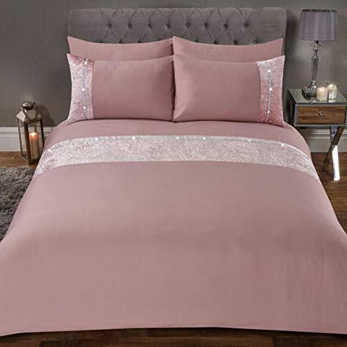 Sienna Luxury Crushed Velvet Diamante Band Duvet Cover with Pillowcase Shimmer Bedding Set, Blush Pink-Single